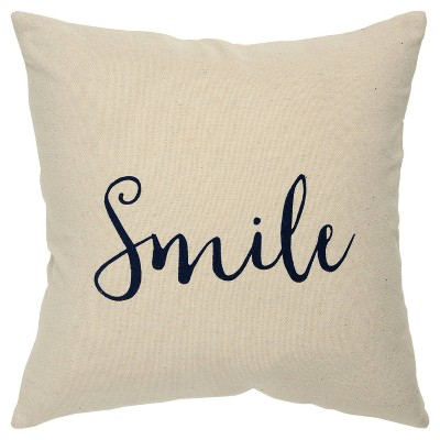 """""""Smile"""" Poly Filled Pillow Black - Rizzy Home"""