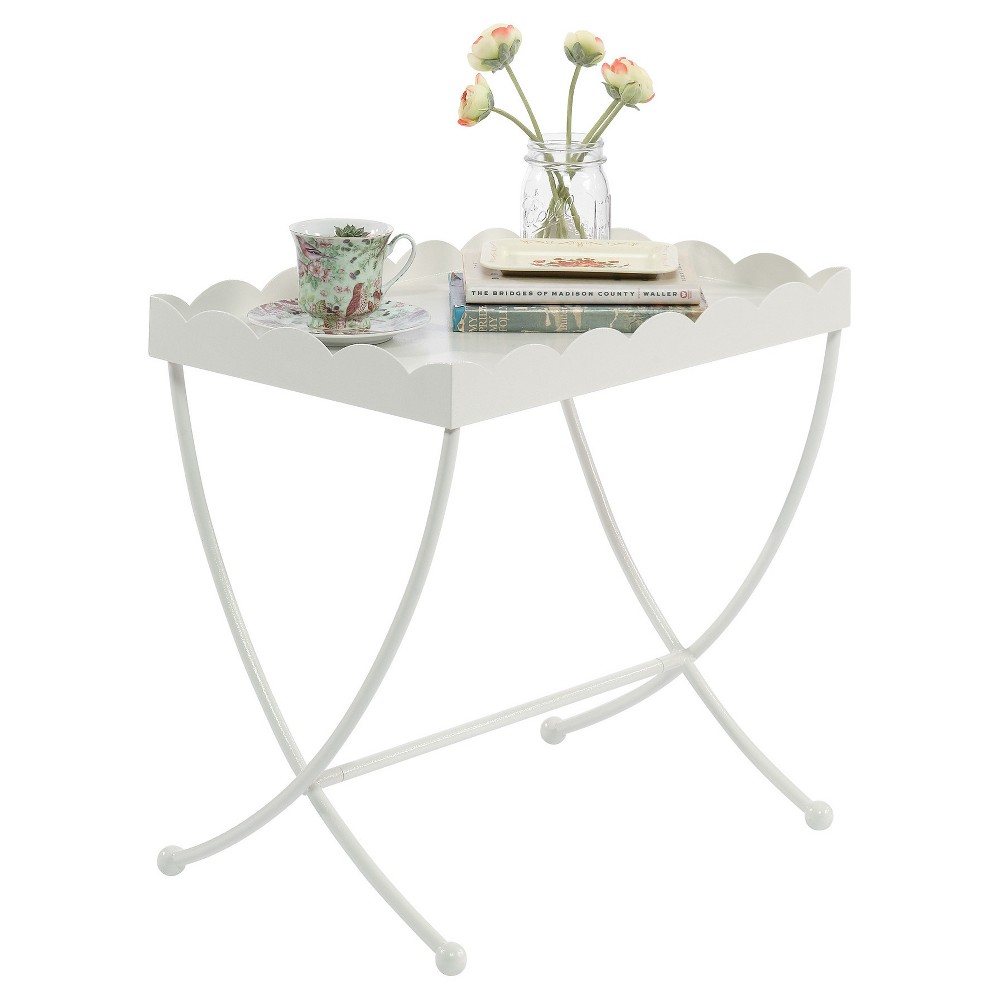 Image of Eden Rue Side Table with Scalloped Design Tray - Cream - Sauder, Beige