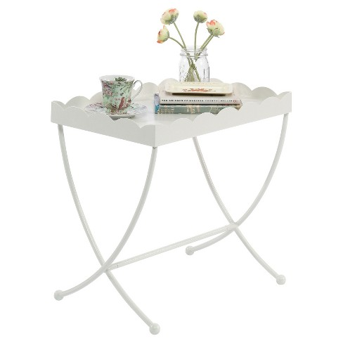 Eden Rue Side Table With Scalloped Design Tray Cream Sauder