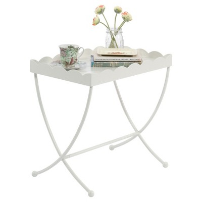 Eden Rue Side Table With Scalloped Design Tray   Cream   Sauder : Target