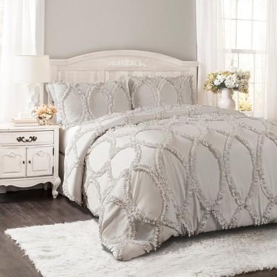 3pc Full/Queen Avon Comforter Set Light Gray - Lush Decor