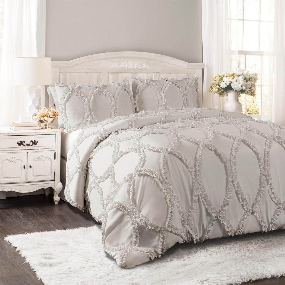 3pc Fullqueen Avon Comforter Set Light Gray Lush Decor
