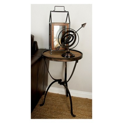 Rustic Iron and Natural Wood Frame Round Side Table Brown - Olivia & May