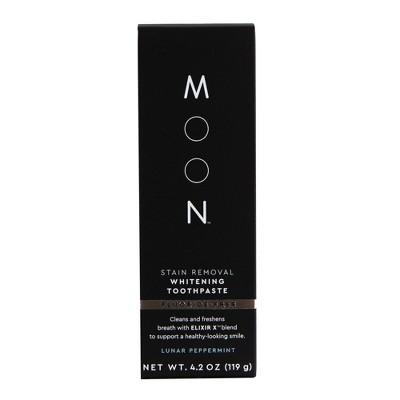 Moon Stain Removal Fluoride-Free Whitening Vegan Paraben + SLS Free Lunar Peppermint Toothpaste - 4.2oz