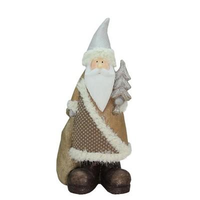 "Northlight 18.5"" Brown and White Santa Holding Christmas Tree Tabletop Figurine"