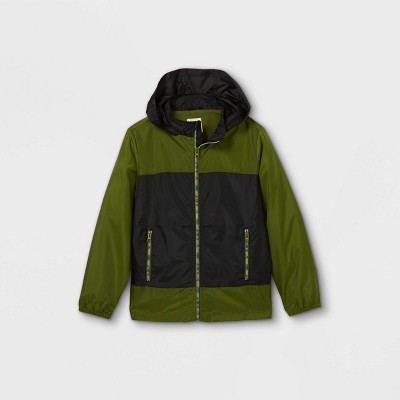 Boys' Colorblock Windbreaker Jacket - Cat & Jack™ Olive/Black