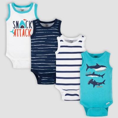 Gerber Baby Boys' 4pk Shark Sleeveless Onesies - Blue Newborn