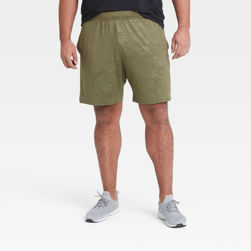 Men 39 S Camo Print Training Shorts All In Motion 8482 Olive Green Xl