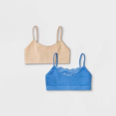 Girls' 2pk Seamless Lace Bra - Cat & Jack™ Blue
