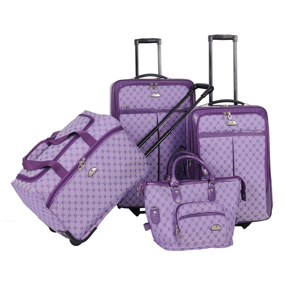 Image of American Flyer Signature 4pc Softside Luggage Set - Light Purple
