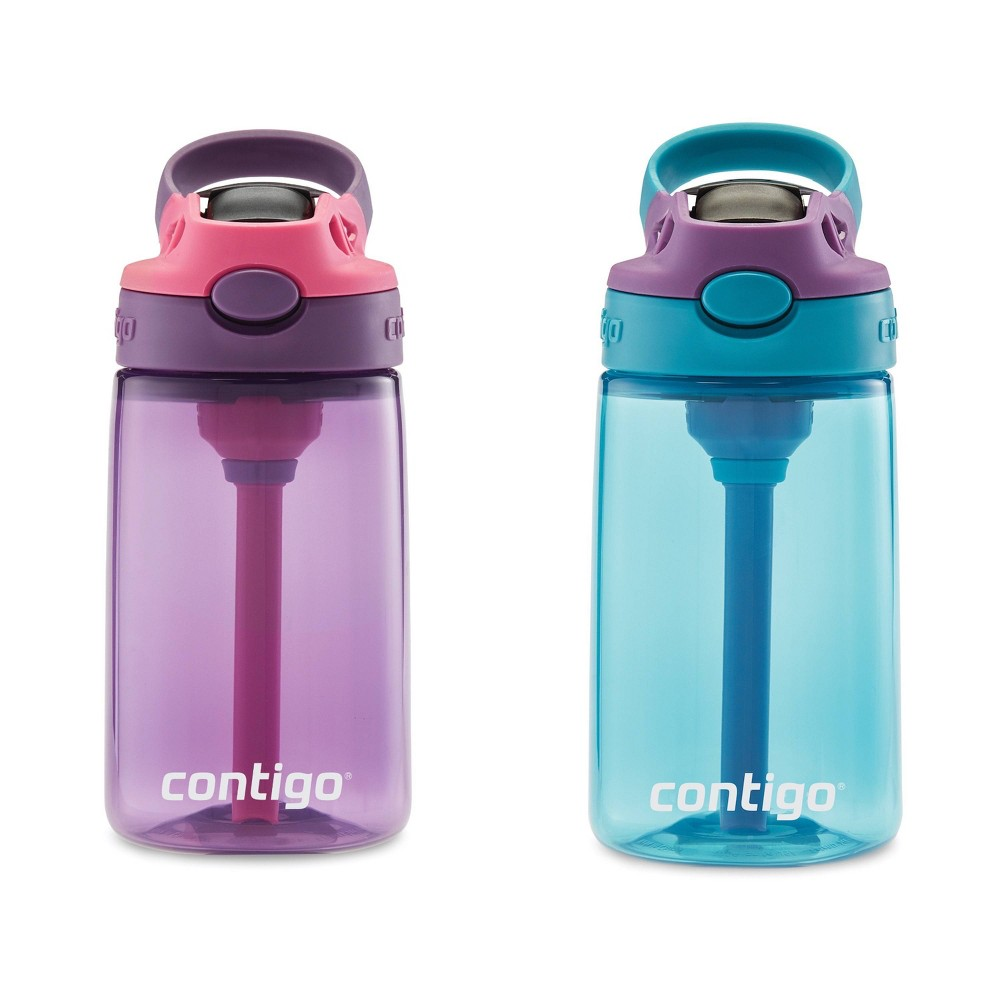 Image of Contigo 14oz 2pk Plastic Unicorn and Dino Kids Water Bottles Pink