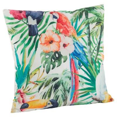 """18""""x18"""" Tropical Parrot Print Poly Filled Throw Pillow - Saro Lifestyle"""