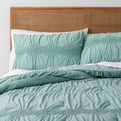 Jade Solid Ruched Jersey Duvet Cover Set (Full/Queen)- Opalhouse™