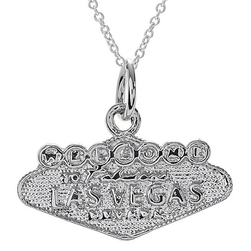 "Women's Journee Collection Welcome to Vegas Sign Pendant Necklace in Sterling Silver - Silver (18"") - image 1 of 2"