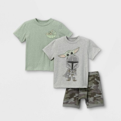 Toddler Boys' 3pk Star Wars Baby Yoda Short Sleeve French Terry Top and Bottom Set - Gray