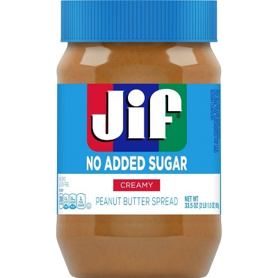 Jif No Added Sugar* Creamy Peanut Butter Spread - 33.5oz
