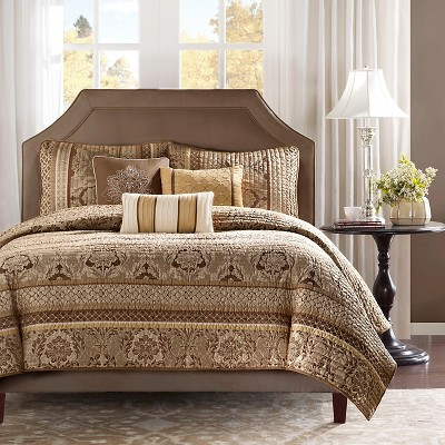 Brown/Gold Mirage Coverlet Set Full/Queen 6pc