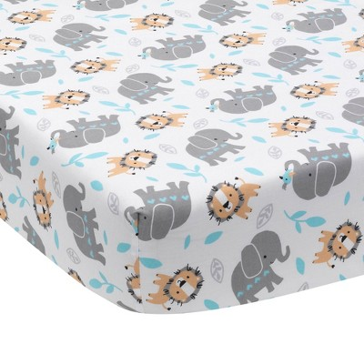Bedtime Originals Baby Fitted Crib Sheet - Jungle Fun Elephant & Lion