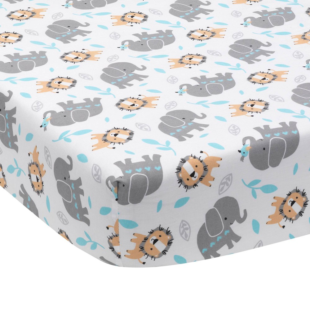 Image of Bedtime Originals Baby Fitted Crib Sheet - Jungle Fun Elephant & Lion