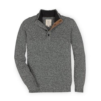 Hope & Henry Mens' Marled Yoke 1/4 Button Placket Sweater
