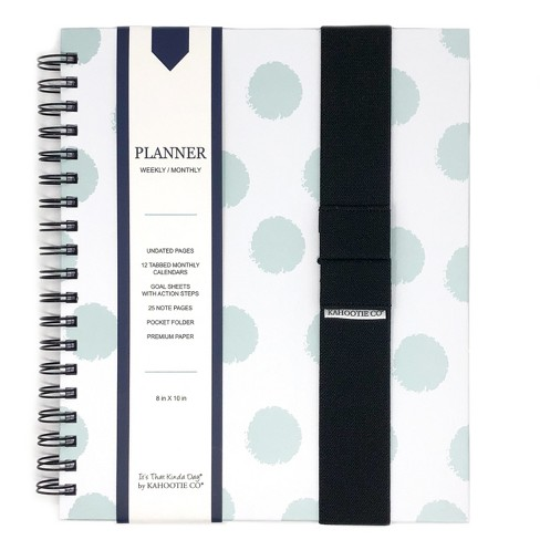 blank planner 8 x 10 with book band stickers teal polka dots