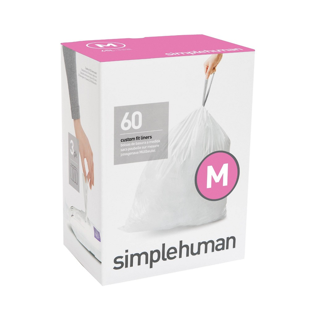 Image of simplehuman 45 Ltr Code M Custom Fit 60ct Trash Can Liner