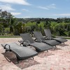 Salem Set of 4 Wicker Adjustable Chaise Lounge with Arms - Christopher Knight Home - image 2 of 4