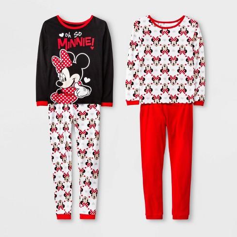 Girls' Minnie Mouse 4pc Pajama Set - Black - image 1 of 1