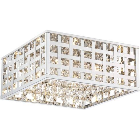 Possini Euro Design Modern Ceiling Light Flush Mount Fixture Led Square Chrome 15 Wide Crystal Accents Bedroom Kitchen Hallway Target