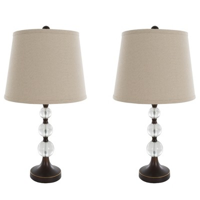 Table Lamps Crystal Balls with Bronze Set of 2 (Includes Energy Efficient Light Bulb)- Yorkshire Home