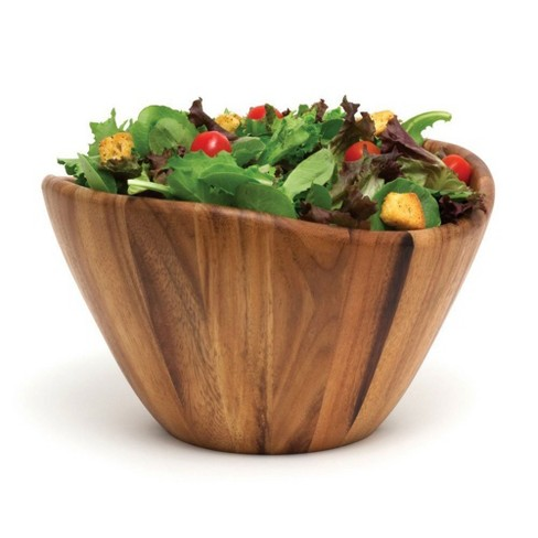 Lipper International Inc Acacia Wave Large Wooden Finish Salad Serving Bowl