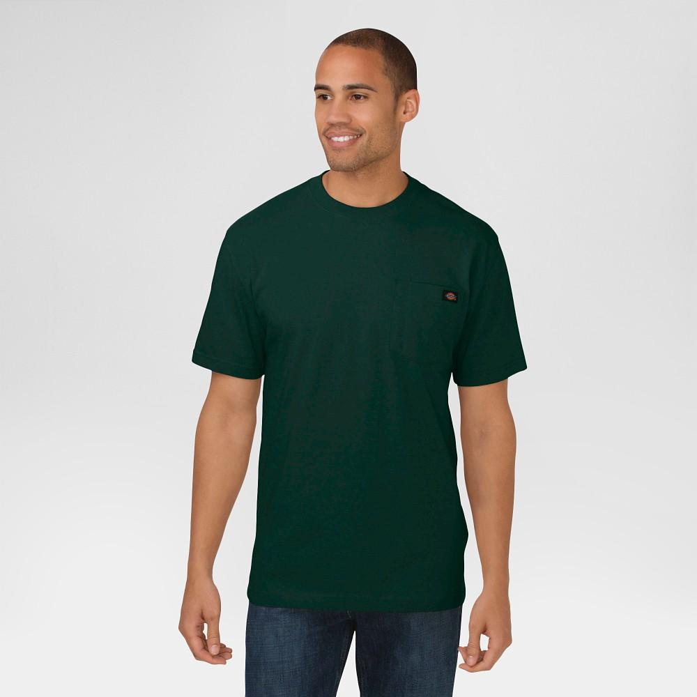 Image of petiteDickies Men's Cotton Heavyweight Short Sleeve Pocket Crew Neck T-Shirt - Hunter Lincoln Green 2XL, Men's, Hunter Green