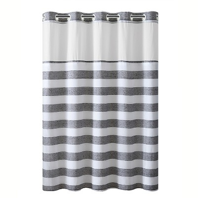 Yarn Dye Striped Shower Curtain with Liner - Hookless