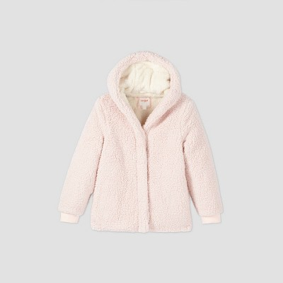 Girls' Cozy Hooded Sherpa Coat - Cat & Jack™ Pink XS
