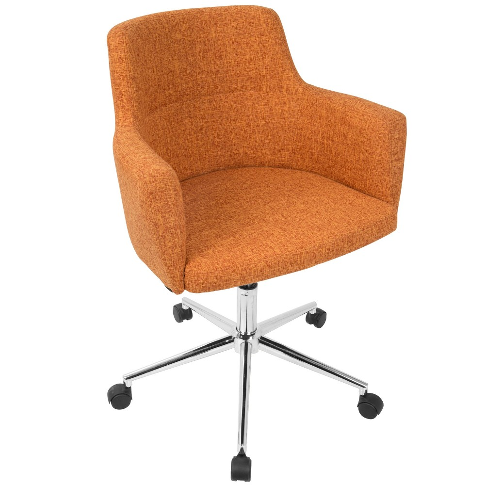 Work in comfort and style in the Andrew Office Chair by LumiSource. Featuring a fabric upholstered padded seat and backrest on a 5-star metal base. Adjustable height, full swivel, and casters means you\\\'re a mover and a shaker. Whether you\\\'re using it for a home office, or your main office, you\\\'ll be sitting in comfort all day! Color: Orange. Pattern: Solid.