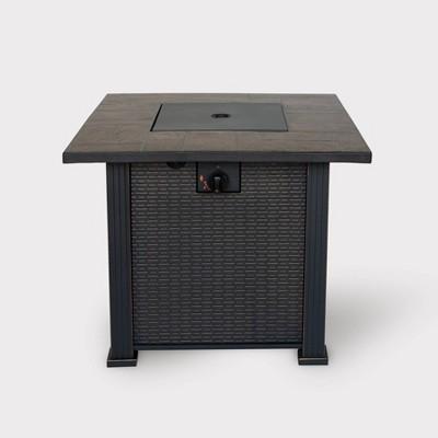 """30"""" Wide Steel Gas Fire Table - Weave Pattern - BOND"""