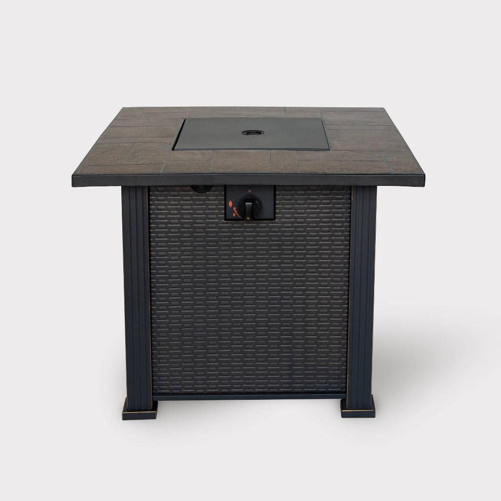 """Image of """"30"""""""" Wide Steel Gas Fire Table - Weave Pattern - BOND, Black"""""""