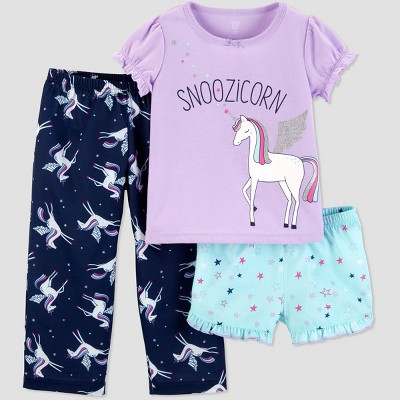 Baby Girls' 3pc Snoozicorn South Pajama Set - Just One You® made by carter's Lilac 12M
