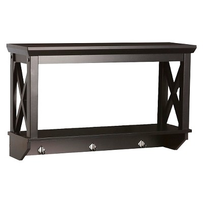X-Frame Collection Wall Shelf with Hooks Espresso - RiverRidge
