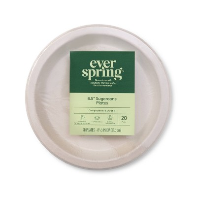 """Disposable Plates 9"""" - 20ct - Everspring™"""