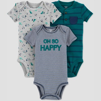 Baby Boys' 3pk Stripe Dragon Bodysuit - Just One You® made by carter's Green 9M