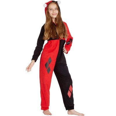 DC Comics Girls' Harley Quinn Costume One Piece Union Suit Pajama Outfit