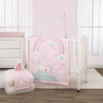 Little Love By NoJo Rainbow Unicorn Mini Crib Bedding Set - Pink/Aqua/Yellow 3pc