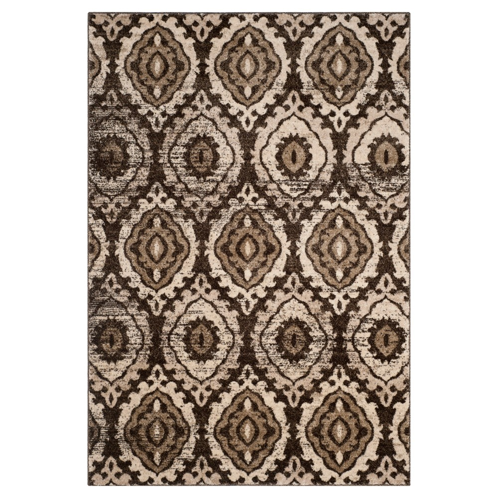 Brown/Creme Abstract Loomed Area Rug - (6'7