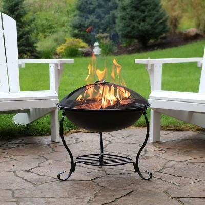 "Elegant 18"" Wood Burning Fire Pit with Stand - Round - Sunnydaze Decor"