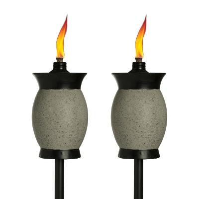 64  2pk 4-in-1 Resin Jar Torch Graphite - TIKI
