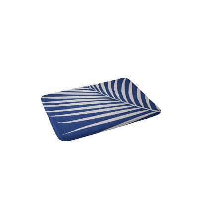 Modern Tropical Vintage Palm Memory Foam Bath Mat Blue - Deny Designs