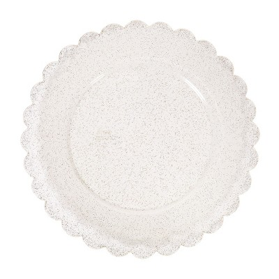 8ct Scalloped Plastic Dinner Plates Gold Glitter - Spritz™