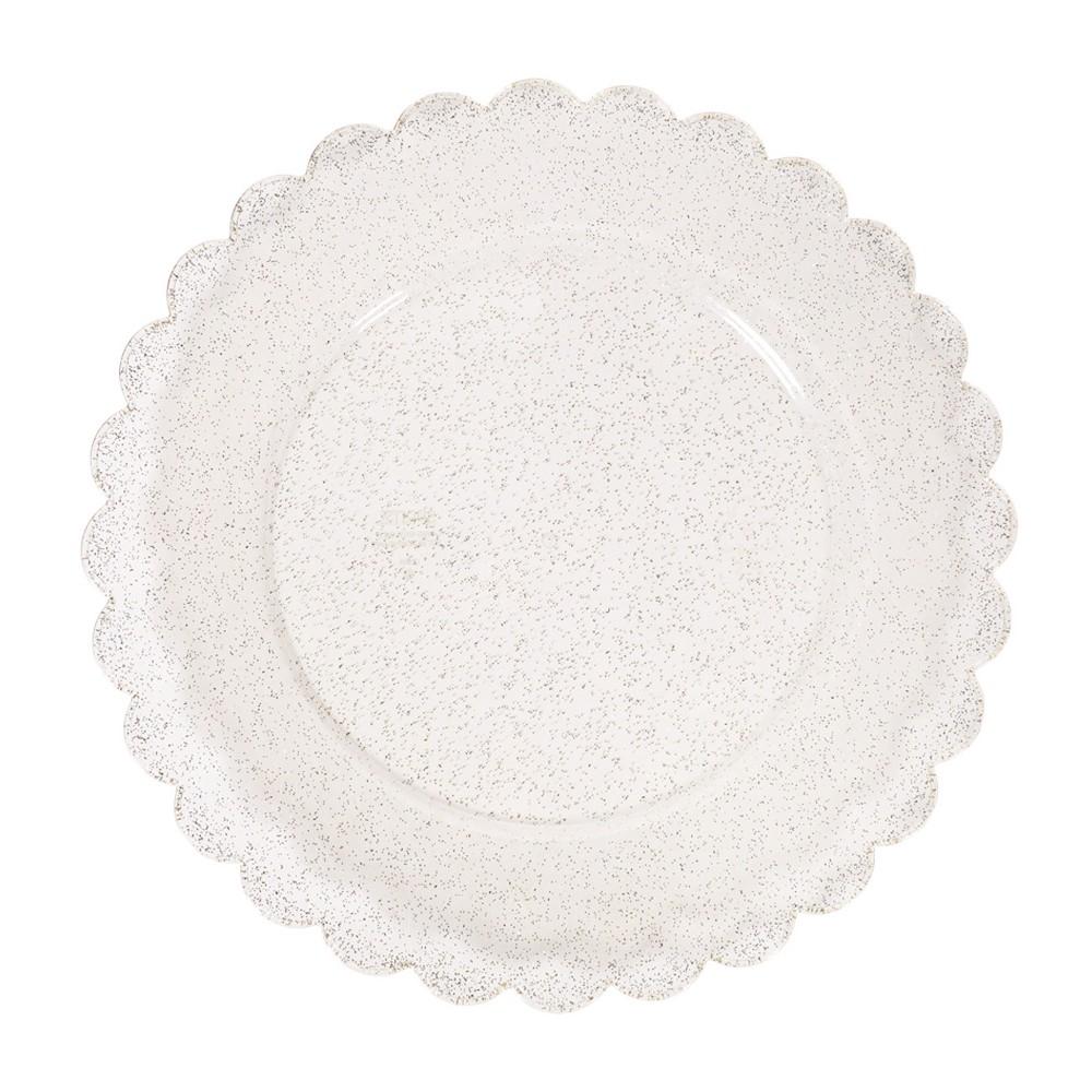 Image of 8ct Scalloped Plastic Dinner Plates Gold Glitter - Spritz