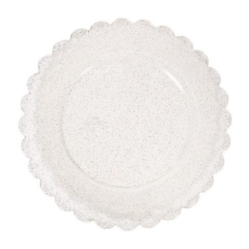 8ct Scalloped Plastic Dinner Plates Gold Glitter - Spritz™ - image 1 of 2